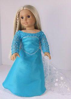 Elsa Dress by Fashionsfordolls2 on Etsy, $32.00 American Doll Clothes, Girl Doll Clothes, Girl Dolls, Frozen Dolls, Elsa Dress, Doll Quilt, Doll Costume, Doll Stuff, Dress Ideas