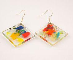 Colorful earrings-Fused glass earrings-fused glass jewelry-Hanging Earrings-Dangle Drop Earrings-silver earrings sterling-bridesmaid gift by BottlesAndOthers on Etsy