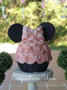 What a stunning birthday cake at this Minnie Mouse Birthday Party!! See more party ideas and share yours at CatchMyParty.com #minnie #birthdaycake