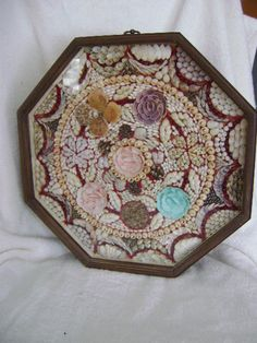 Vtg. Sailors Floral Sea Shell Art Octagon Shadow Box Diorama