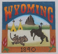 Denise DeRusha Designs Wyoming Hand Painted Needlepoint Canvas 18 count