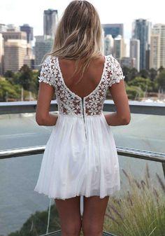 Weiß Patchwork drapierte Spitze V Back Ausschnitt Kurzarm Chiffon Kleid
