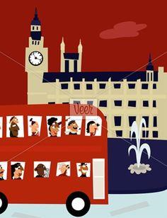 England, London, bus tour driving past Big Ben Stock Illustration London Bus, London Icons, Coach Travel, London Underground, New York, Vintage Travel Posters, London Travel, Paris, Big Ben