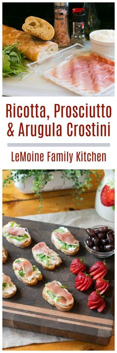 Ricotta, Prosciutto and arugula crostini! Add these delicious bites to to holiday entertaining menu! East Appetizers, Best Appetizer Recipes, Quick And Easy Appetizers, Yummy Appetizers, Snack Recipes, Drink Recipes, Snacks, Best Party Food, Party Food And Drinks