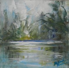 LIGHT ON POND.  Original Acrylic Painting on Canvas.Original available through my Etsy website.  DeborahFerreeArtCafe.