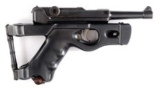A Benke & Thiemann folding stock mounted on a 1923 Commercial Luger