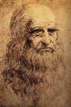 Leonardo da Vinci, ca 1512, Zelfportret, Koninklijke bibliotheek van Turijn. Rode krijttekening op papier met inscriptie 'Leonardus Vincius, portret van hemzelf op gevorderde leeftijd'. De tekening wordt vanwege de kwetsbaarheid zelden tentoongesteld. Renaissance.