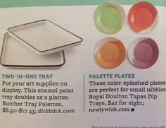 Love these trays and plates for palettes!
