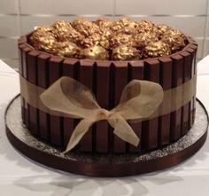Ferrero Rocher kit Kat cake. Ferrero Roacher have been unwrapped and sprayed gold. More