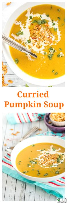 Curried Pumpkin Soup topped with spicy roasted pumpkin seeds is my new favorite fall dinner! Find the recipe on www.cookwithmanali.com