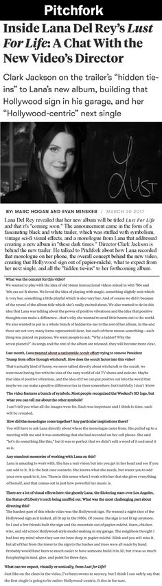 "Clark Jackson, director of Lana Del Rey's ""Lust For Life"" album trailer, talks about the new album and working with Lana. #LDR #quotes"