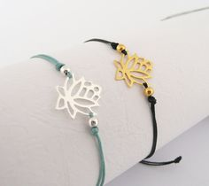 Items similar to Sterling Silver Lotus Bracelet, Friendship Cord Bracelet, Gold Vermeil Bracelet, Dainty Bracelet, Dainty Jewelry on Etsy Dainty Jewelry, Sterling Silver Jewelry, Gemstone Jewelry, Jewelry Box, Handmade Jewelry, Simple Bracelets, Cord Bracelets, Personalized Jewelry, Bracelet Making