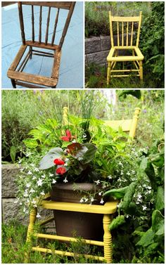 Have a few of this type of chair from my father's workshop.  Looking forward to spring and sprucing up the chairs to house some beautiful flower plantings like this one!