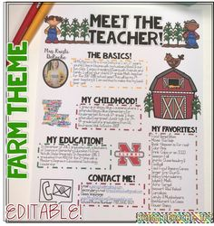 Meet the Teacher Newsletter EDITABLE Farm theme! Perfect for Open House, Meet the teacher night and back to school. Editable! Perfect for all grade levels and subject areas!