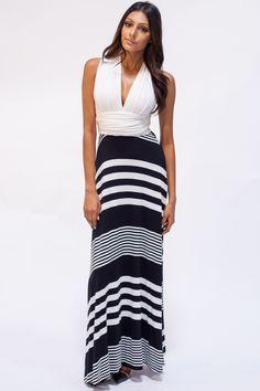Wound Up Graphic Stripe Maxi Dress