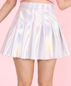 Image of Made To Order - Pleated Silver Holographic Skirt by GFD