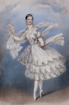 """The ballerina Marie Taglioni costumed as Zoloë in the opera-ballet """"Le Dieu et la Bayadère"""", c. 1830. Lithograph by Alfred Edward Chalon"""