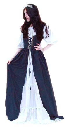Renaissance Medieval Irish Costume Over Dress Fitted Bodice Black Moda Medieval, Medieval Dress, Medieval Clothing, Historical Clothing, Renaissance Mode, Renaissance Fair Costume, Renaissance Fashion, Renaissance Dresses, Irish Costumes