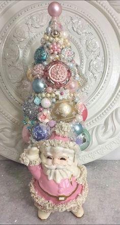 Stunning pastel bottle brush pink Santa tree :)