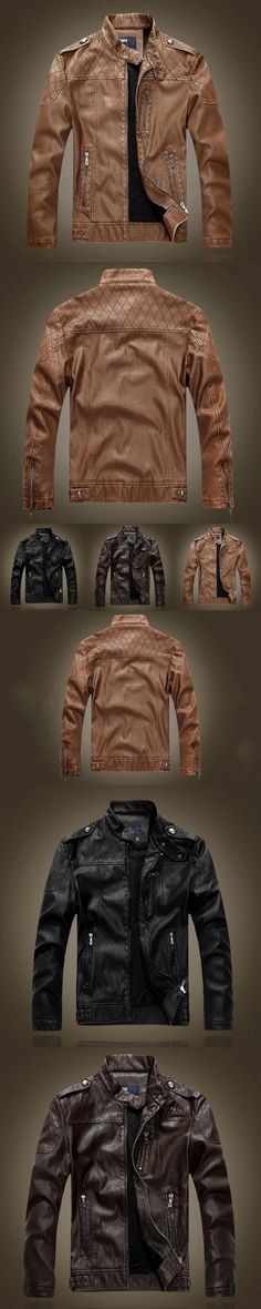 AOMU Motorcycle Leather Jackets Men Autumn Winter Leather Standing Collar Jackets Clothing Male Business casual Coats