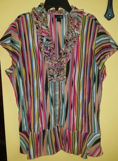 East 5th xl cap sleeve button up multi color blouse ruffle  | Clothing, Shoes & Accessories, Women's Clothing, Tops & Blouses | eBay!