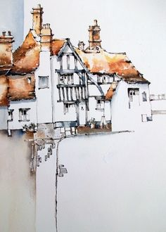 Jeanette Clarke Line and wash painting of Petworth