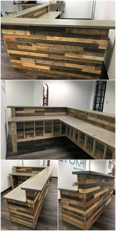 You do have the idea of arranging the wood pallet for designing of the counter table. This is just a creative addition in your house bar areas would make it look much attractive. As it is all visible in this image, you will view the textured beauty impact Bar En Palette, Palette Diy, Basement Bar Designs, Home Bar Designs, Basement Bars, Basement Ideas, Diy Home Bar, Bars For Home, Diy Bar