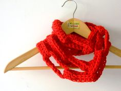 red chunky crochet scarf long chain scarf wool by cosediisa, €35.00