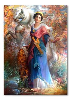 480 B.C.E. - Artemisia's  Love Story with Xerxes the Great: Grand Admiral Artemisia was sexy, strong, built, a typical athletic woman with beauty and culture. She made an oath to get Xerxes, the Great King of Persia [pic: Grand Admiral Artemisia and her legendary white horse and Golden Sword] 'Historical Persian women'