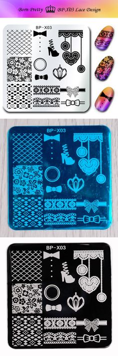 [Visit to Buy] BORN PRETTY Stamp Print Stencils for Nails 6*6cm Square Nail Art Stamping Plates Template Lace Design Bownot Image Plate BP-X03 #Advertisement