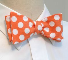 Men's bow tie in tangerine with white polka dots by CCADesign, $25.00