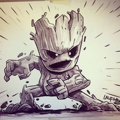 Drawing Marvel We are groot. Inking was done with a Tom Bow brush pen and the markers are prismacolor warm grey. Comic Books Art, Comic Art, Chibi Characters, Baby Groot, Marvel Art, Animation, Guardians Of The Galaxy, Cartoon Art, Character Art