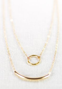 Kameli necklace - double layered 14k gold filled necklace, delicate gold necklace, double strand necklace, layering bar necklace, eternity on Etsy, $49.00