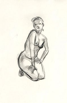 Charcoal Sketch. Anthony DeRosa Limited Edition Print: Straight Arm Kneel.