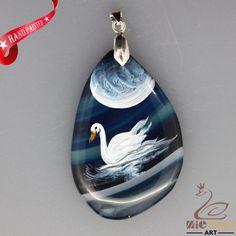 HAND PAINTED WHITE SWAN BLUE CHALCEDONY GEMSTONE PENDANT ZL8016716 #ZL #PENDANT