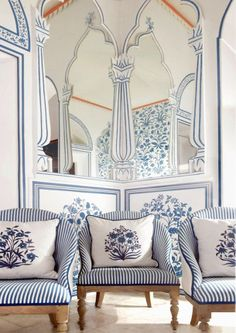 blue and white, stripes and mirrors