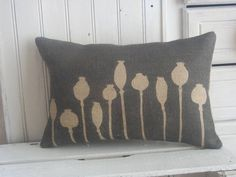Poppy Seed Head Printed Hessian Cushion £25