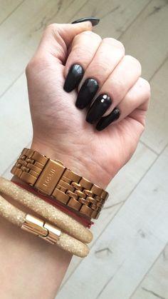 #dark #coffin #nails #love #black #swarovski #fossil