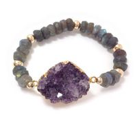 Faceted Labradorite Rondelles  Beads Bracelets Raw Amethyst Druzy Cluster Bracelets B16072008