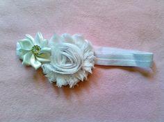 White Baby Girl Flower Jewel Elastic Headband Photo Prop USA SELLER
