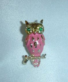 Adorable 70's Pink Enamel Owl Brooch Pin Jewelry Vintage Bird Animal Figural Rhinestone Horned Owl Brooch Cottage Chic Retro Kitsch Owl