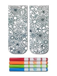 Crayola Color-In Socks with 1 Pair of Socks and 4 Fabric Markers - Floral Design *** See this awesome image @