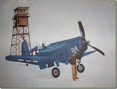 World War II Corsair plane mural in baby boy's nursery.