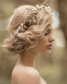 Hair and makeup by Natalie Dent. Photo by Jessica Sim. Gown- Rue de Seine. Wreath- Leaf and Honey. Model- Emily @62 models