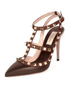 X2TL1 Valentino Rockstud Colorblock Leather Sandal, Morello/Crimson