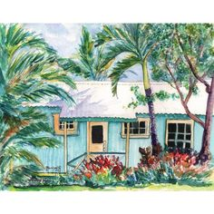tropical plantation house 8x10 giclee print paintings of houses kauai... ($26) ❤ liked on Polyvore featuring home, home decor, wall art, giclee painting, aqua home decor, ink painting, teal blue home decor and giclee wall art