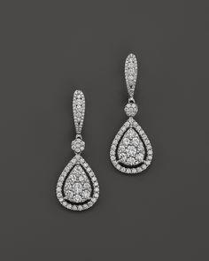 Diamond Cluster Teardrop Earrings in 14K White Gold, 2.75 ct. t.w.