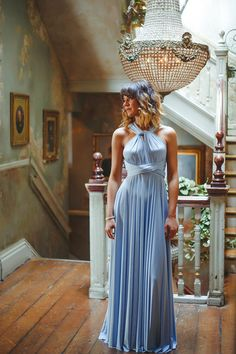 Baby blue twobirds Bridesmaid ballgown - multiway, convertible dresses designed to fit, compliment and flatter all body shapes. Photographer: Claire Graham, Venue: Paradise by Way of Kensal Green (thanks to Coco Wedding Venues)