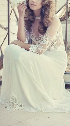 Lace gown / inbal raviv vintage style boho romantic bohemian sleeves illusion long simple sweet dress wedding bride