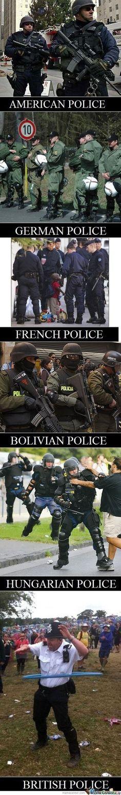 American, German, etc Police VS British Police! :)) http://ibeebz.com